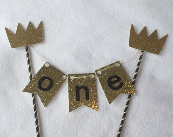 Wild One Cake Bunting, Black Gold Crown Cake Bunting, Black Gold Crown Cake Topper, Wild One Cake Topper Bunting, Gold Cake Topper Bunting