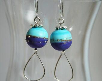 Lampwork bead earrings in Turquoise and purple
