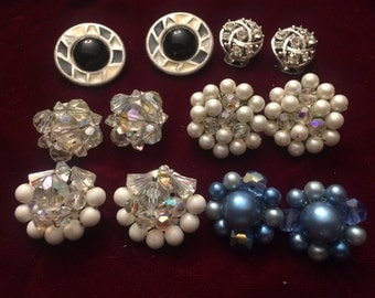 Six Pair of Vintage Clip on Earrings Japan Good Wearable Condition