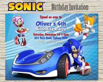 Sonic  Invitation,Sonic Personalized,Sonic Birthday Invitation, Sonic Digital Printable,Sonic Print,Sonic Birthday Party-Sonic Card