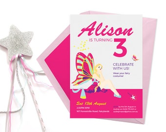 Fairy invitations, 2nd birthday invitations, First birthday invitations Kids birthday invites Childrens party invitations Kids party invites