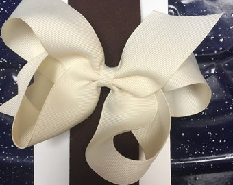 Cream and brown headband with removable bow- 0-3 m