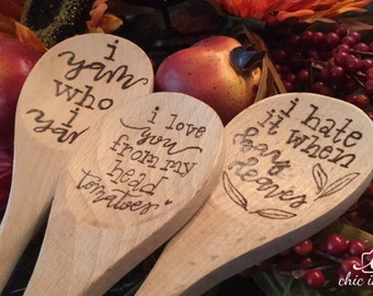 SWEET or SASSY BUNDLE of Wooden Spoons, Kitchen Utencils, Wood Spoons, Hand Lettered, Hand Lettering, calligraphy, Wood Burned, Cook, Bake
