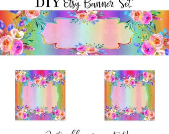 Rainbow banners etsy diy rainbow banner etsy rainbow rainbow graphics banner kit banner set solutioingenieria Image collections