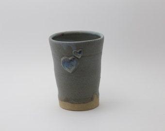 Little blue heart glass, 10 oz