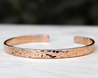Bracelet plated hammered ring rose gold 750/1000