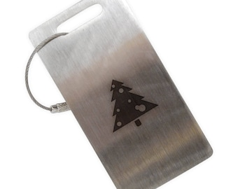 Decorated Christmas Tree Stainless Steel Luggage Tag