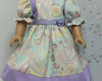 Paisley Dress with purple accents for American Girl Doll