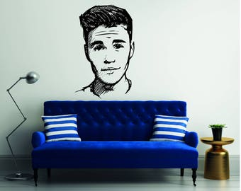 Justin Bieber Silhouette   Mural Wall Decal For Home Bedroom Living Room  (398) Part 28