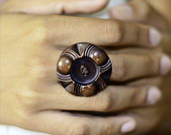 Brown Vintage Button Statement Ring