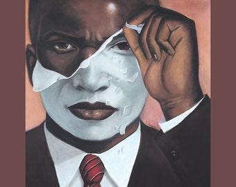 Face Reality Male  Canvas Art  12x14,African American Art,Black Art