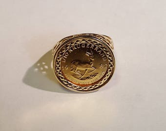 1/10th Ounce Gold Kruggerand Coin Ring - In Heart Mount - UK Size P - 6.7g
