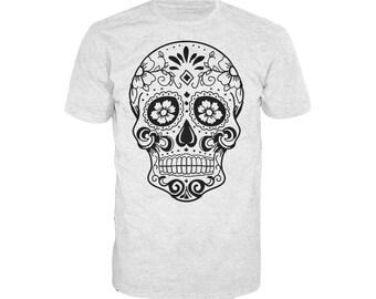 Sugar Skull Men's T-shirt Heather Grey