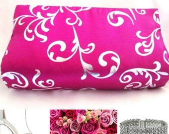 Hot Pink & Silver Classy Clutch, Statement Clutches, Magenta Purse, Fuschia Clutch, Modern Clutch, Prom Clutch, Unique Clutch bag, Wife gift