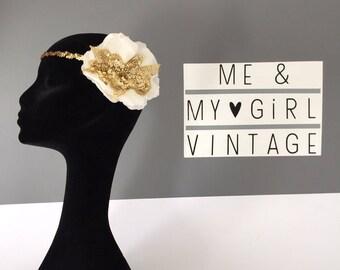 Gorgeous 1920's inspired headband/ gold headband /wedding hairband