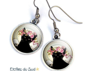 Earrings * black shabby cat * hypoallergenic, cabochon flower Crown cat, ref.4
