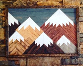 Mountain wall art, Large mountain wall art, wood art, wall decor, mountain art, mountain range, rustic art, mountain range, lodge, mosaic