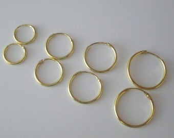 9ct Gold Plated on Sterling Silver Pair of Hinged Hoop Sleeper Earrings Select 11mm 13mm 15mm or 18mm