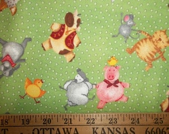 Barnyard Dance Cow Pig Chicken Rabbit Cat Mouse Sheep Flannel Fabric on Green By the Yard OOP