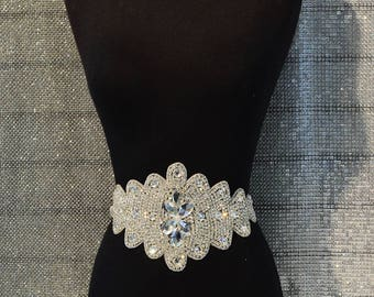 Elegant Rhinestone Bridal applique Silver Swarovski Quality Crystal Applique Large 15 inches
