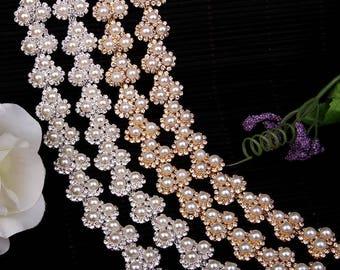 1 yard Rhinestone trim/ Rhinestone Chain/ Formal gown belt/ rhinestone Swarovski shine silver,gold with pearl #GY6865