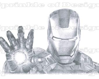 Iron Man Pencil Drawing Print