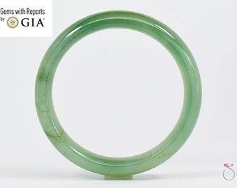 Natural Green Jadeite Jade Bangle Bracelet, GIA Certified GRADE A Translucent Jade