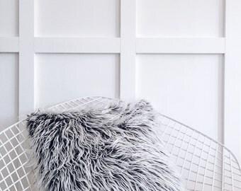 Grey Fur Cushion - Faux Mongolian Fur Nordic Pillow Cover