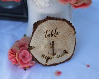 Wedding Table Numbers-  Wooden Table Numbers- Log Slice - Rustic Wedding Table Numbers- Wedding Table Decorations