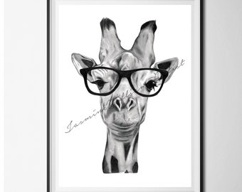Giraffe wall art | giraffe with glasses, nursery animal print, giraffe drawing, prints for nursery, giraffe print, safari nursery decor