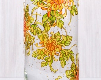 Hand Painted Vase, Autumn Chrysanthemums