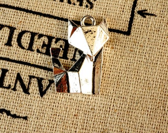 Origami fox 2 silver charms  jewellery supplies