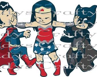 SVG and DXF  Superhero kid trio