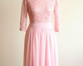 Long Blush Pink Chiffon Lace Dress.Halter Blush Pink Chiffon Short Front Long Back Bridesmaid Dress Long bridesmaid dress Prom wedding dress