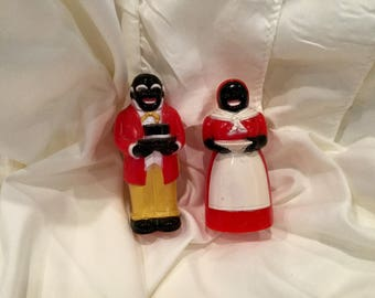 1950s Mose and Aunt Jemima  salt and pepper shakers/F&F die company