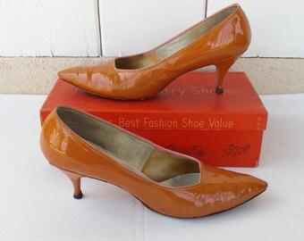 Vintage 1960s Orange Heels and Box