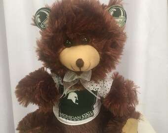 Michigan State teddy bear, Spartans, college football toys, gifts, sports team bear.