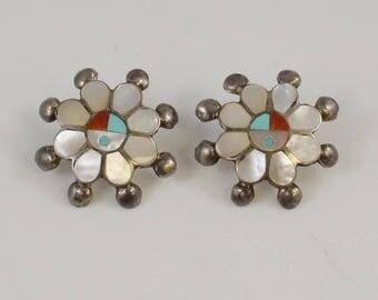 Sterling Silver 925 Designer P Lonjose Zuni Earrings(01088)