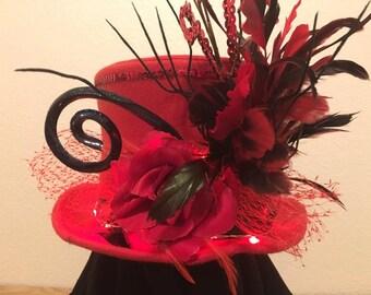 Red Devil Tophat Whimsical Alice in Wonderland Horns Feathers Cosplay Horns Men's Women's Unisex