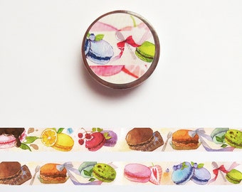 Macaron Washi Tape, Sweet Dessert Washi Roll, Food Deco Tape, Original Illustration Masking Tape