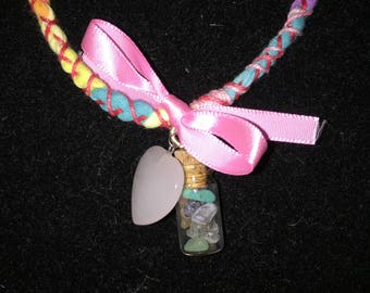 Fabric Necklace, Crystal Necklace, Handmade Necklace, Bottle Necklace,