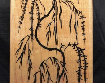 Weeping Cherry Tree by Inkadinkadoo Rubber Stamp Flowering Tree Oriental Style