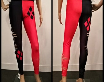 Shredded and braided Handmade leggings Harley Quinn black and red punk suicide squad