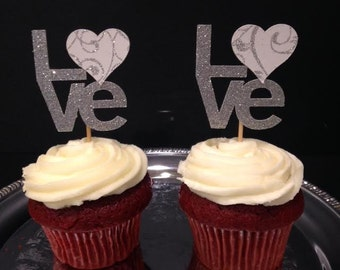 """Engagement, Bridal or Wedding Shower """"Love"""" Cupcake Topper in Silver Glitter! Perfect for Anniversaries, Birthdays and Holidays too!"""