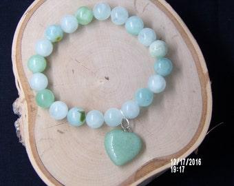 B1265 Sea Green Glass Beaded Bracelet With glass Heart Charm