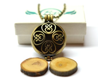 Celtic Locket Essential Oil Diffuser Necklace- With Choice of Essential Oil