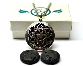 Celtic Wilderness Lava Stone Locket Essential Oil Diffuser Necklace // Aromatherapy Necklace // - With Choice of Essential Oil