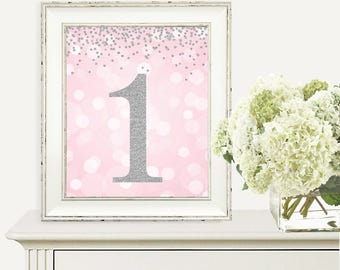 Printable First Birthday Party Decorations - Pink and Silver Confetti -  Number 1 - 1st Birthday Party - First Birthday - Party Decorations
