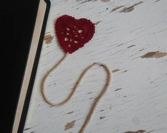 Crochet Heart Bookmark Valentines Day Gift   Handcrafted Heart Shaped Bookmark