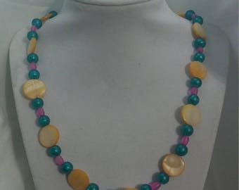 Handcrafted Shell and Glass bead Necklace